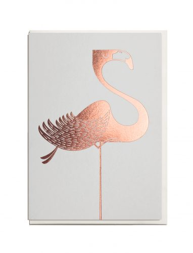 Rose gold foil print flamingo greeting card