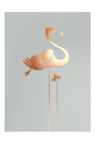 Foil flamingo artprint on smoke