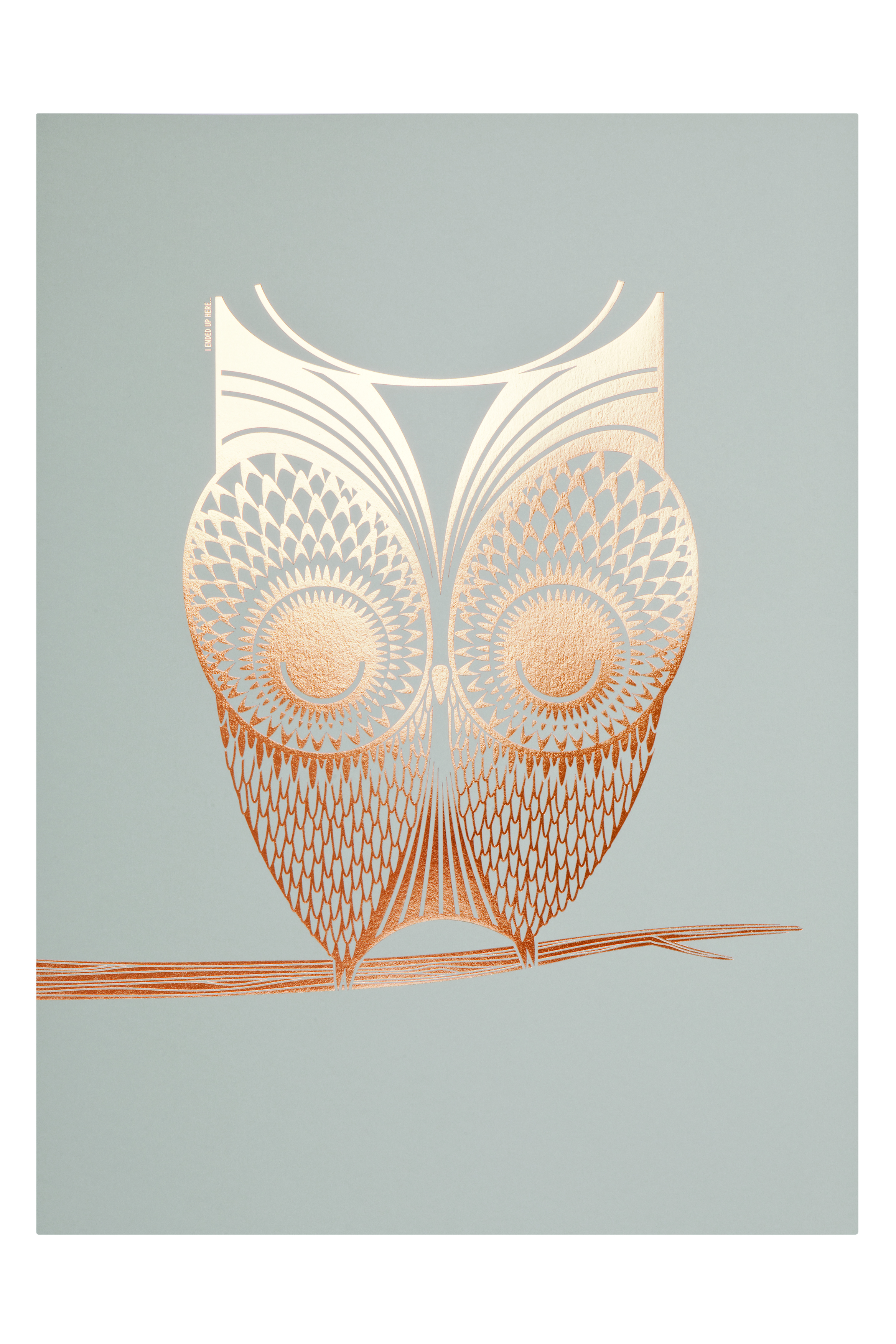 Foil owl artprint on smoke
