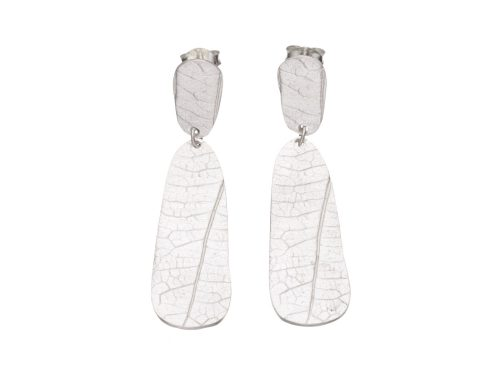 Gold filled sterling silver leaf print earrings