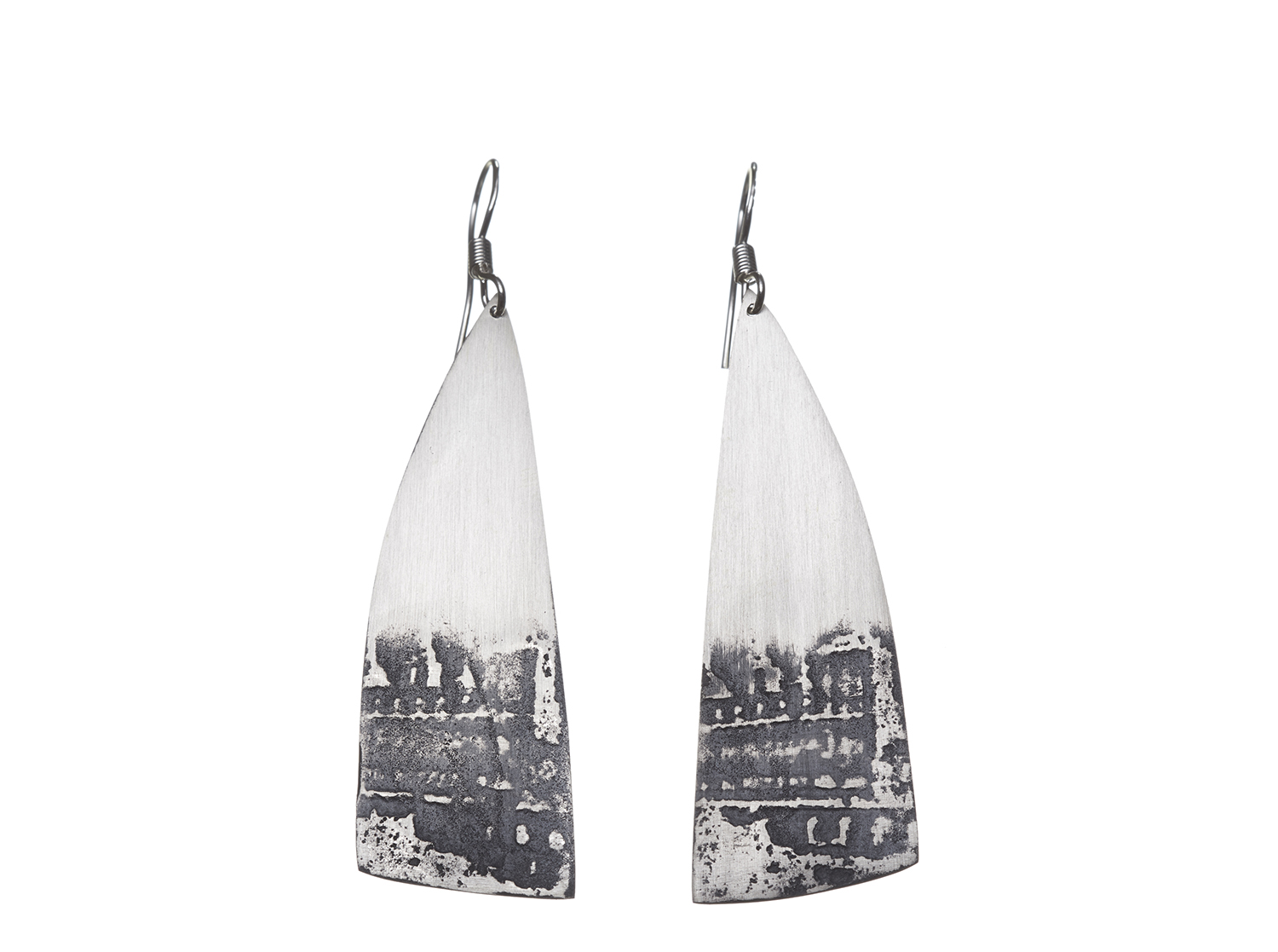 Sterling silver etched earrings