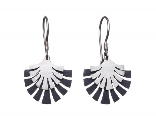 Two tone sterling silver fan drop earrings
