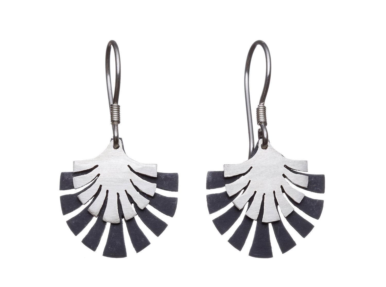 Two tone sterling silver fan drop earrings