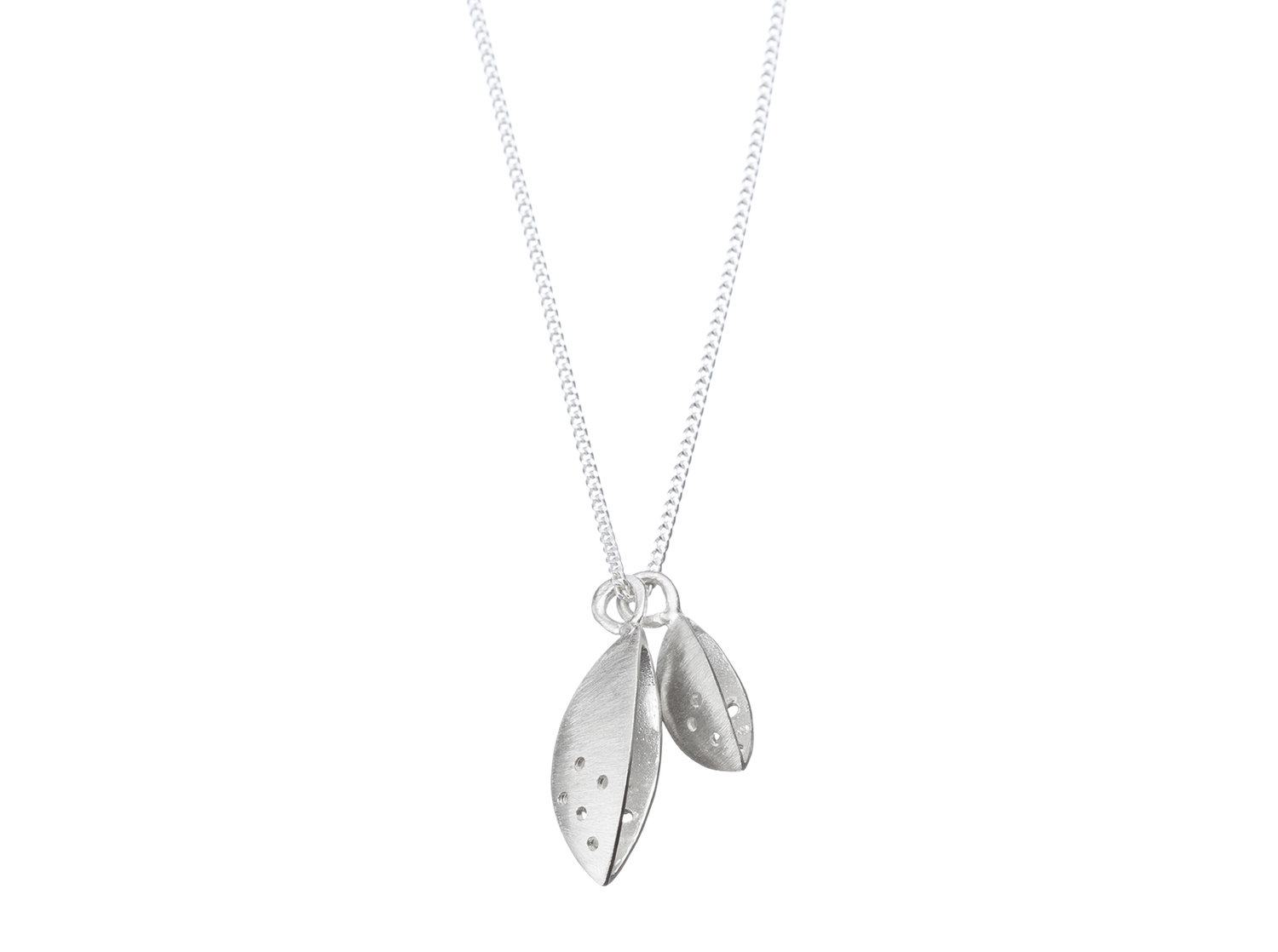 Sterling silver twin seed pod necklace