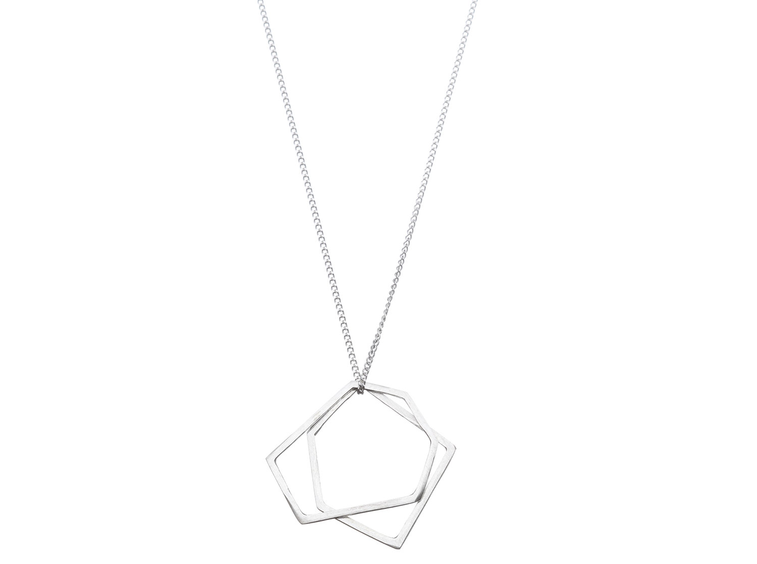 Sterling silver twin hexagon necklace
