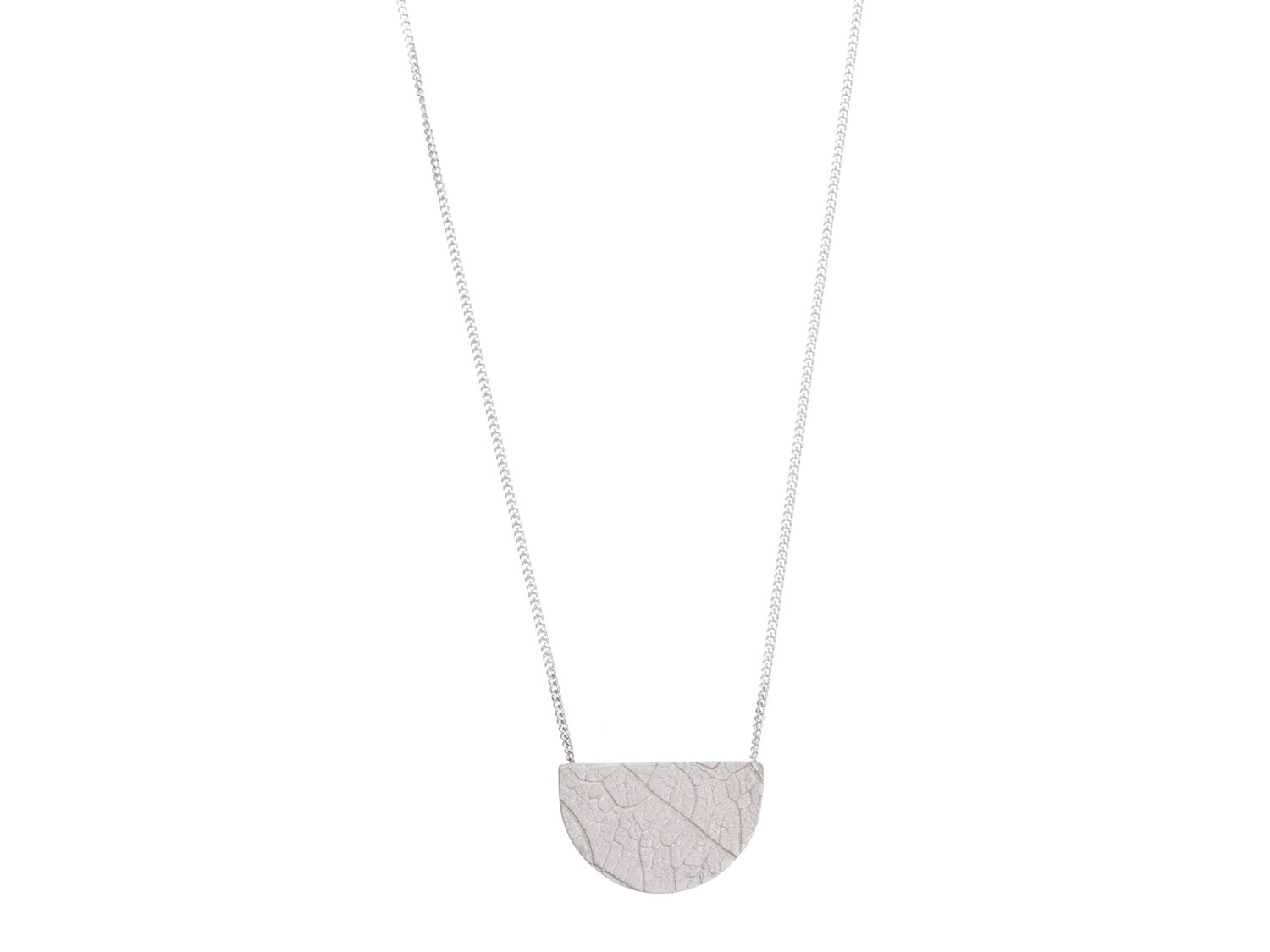 Gold filled sterling silver half moon leaf print necklace