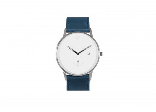 Modernist silver / navy blue watch