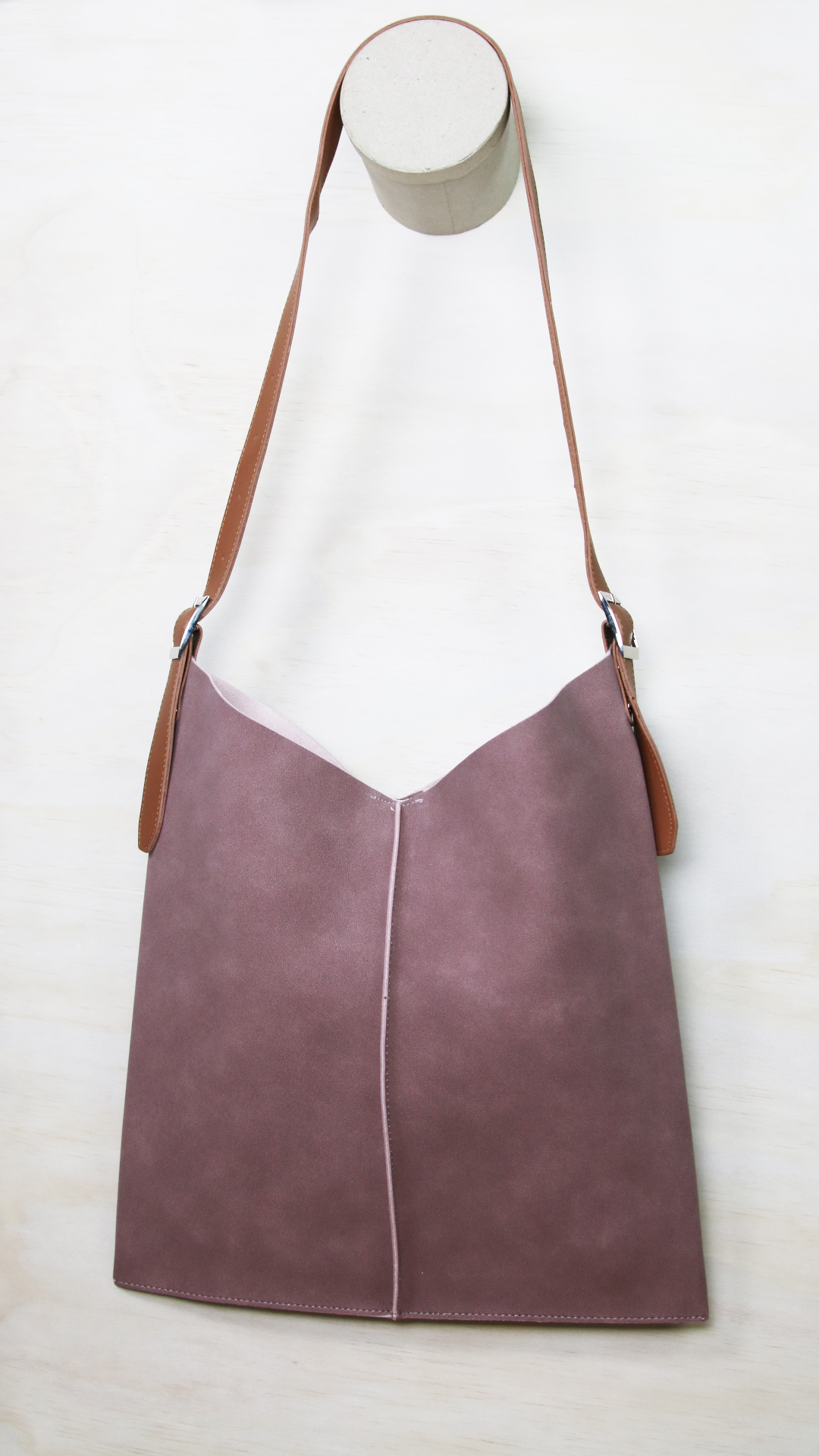 Ana vegan suede crossbody with a tan sling - blush