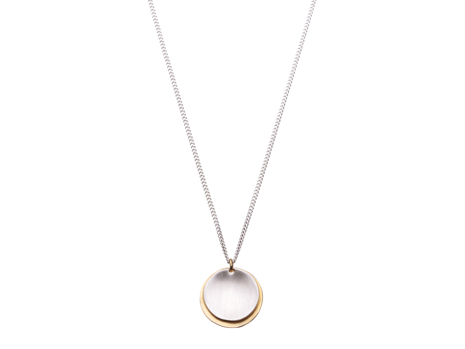 Two tone sterling silver disc necklace