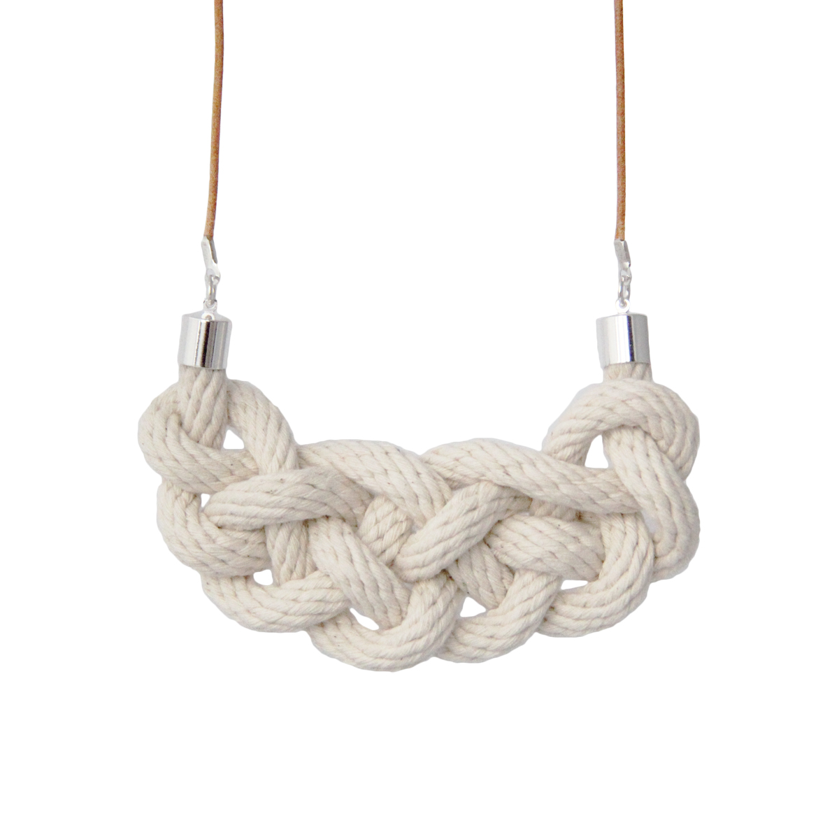 Celtic knot necklace natural cotton