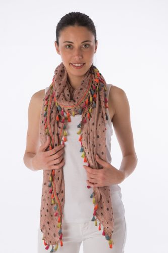 Polka dot scarf with multi colour tassels