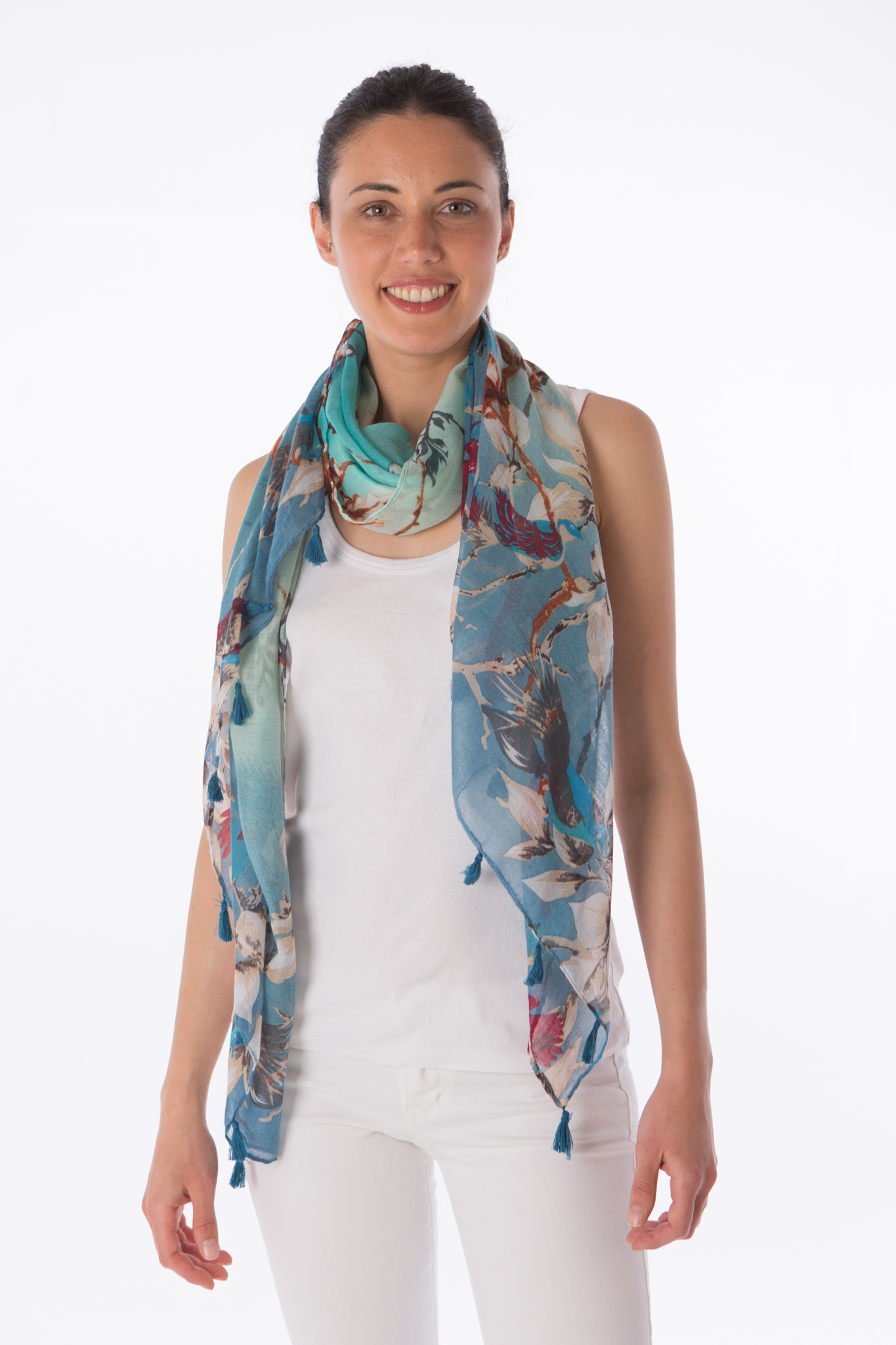 Printed colourful summer scarf