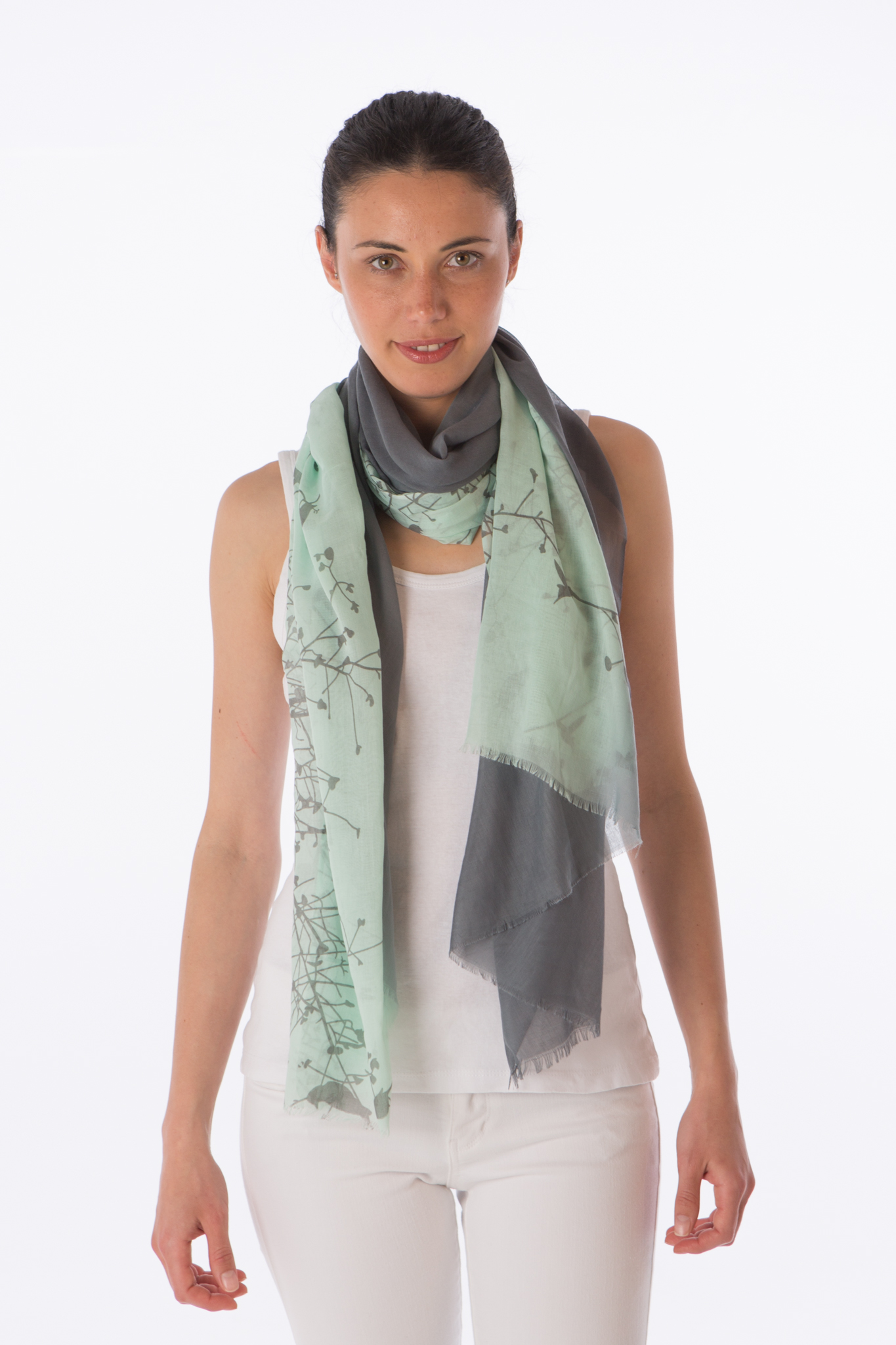 Buttersoft gradient birdprint scarf