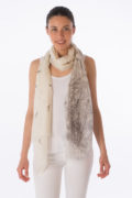 Cashmere scarf with bird and branch print