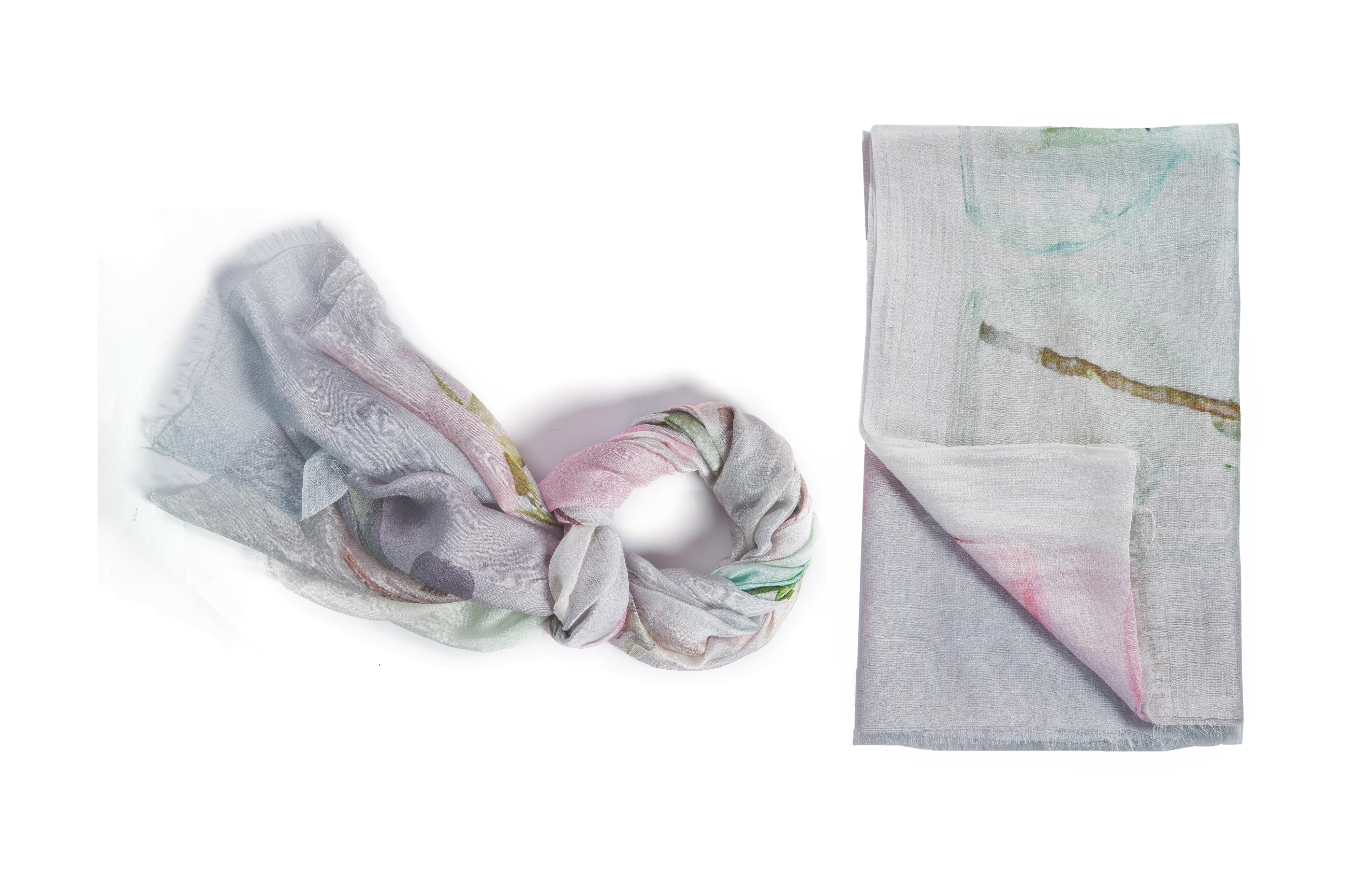 Silk blend floral print scarf