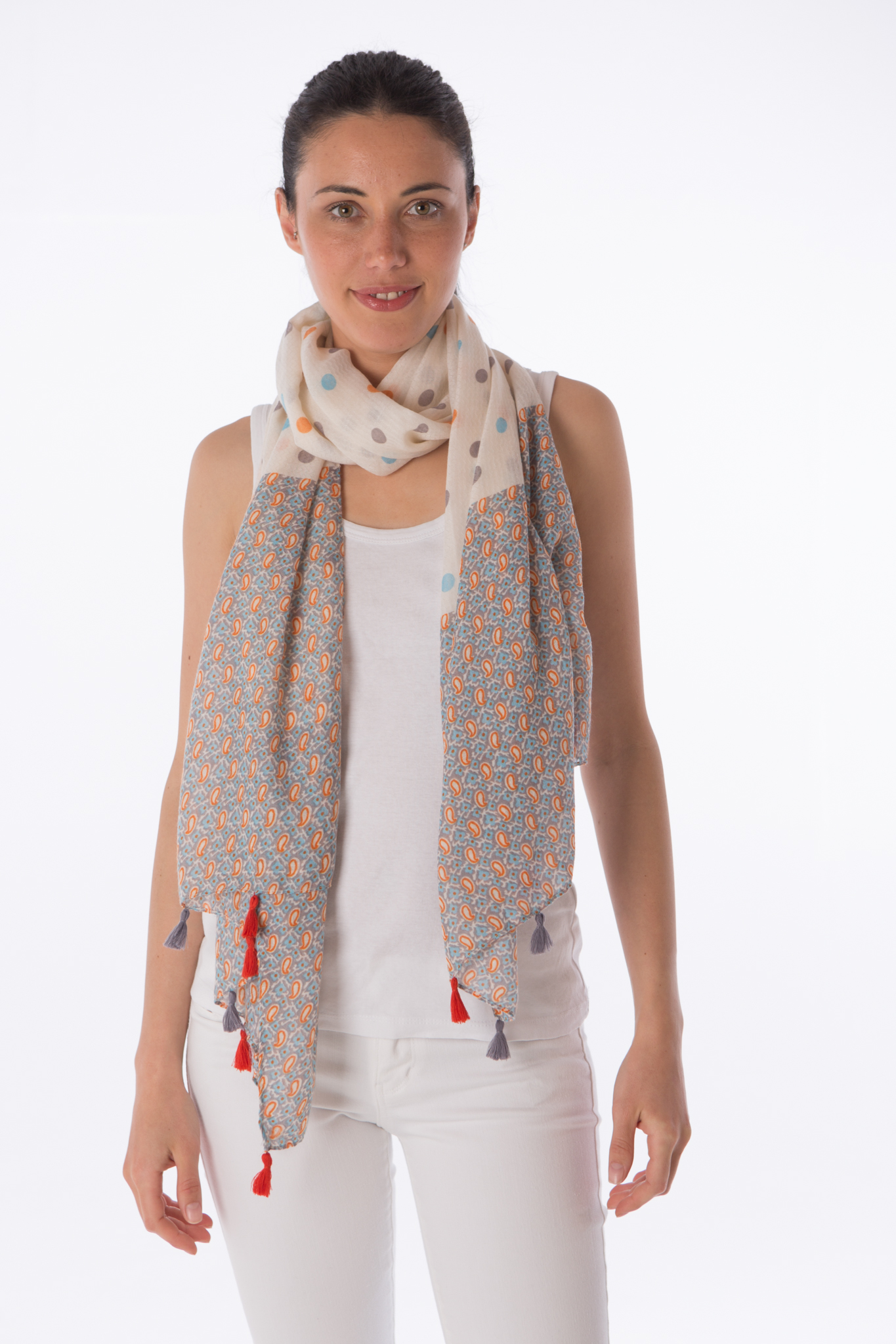 Polka dot tassel scarf