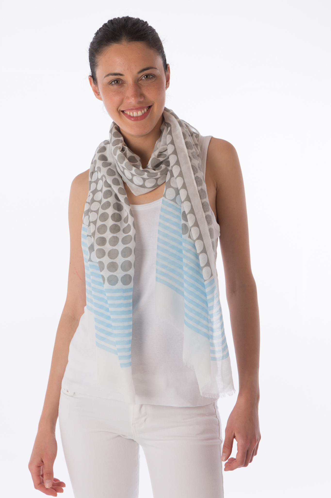Spots and stripe panel scarf